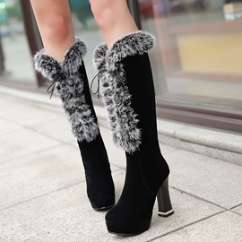 Ericdress Delicate Fur Thigh High Boots