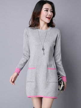 Ericdress Simple Pocket Patchwork Above Knee Casual Dress