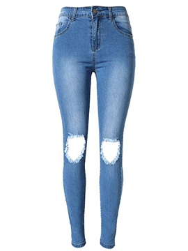 Ericdress Holes Washable Skinny Jeans