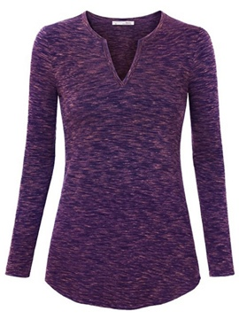 Ericdress Solid Color Long Sleeve Casual T-Shirt