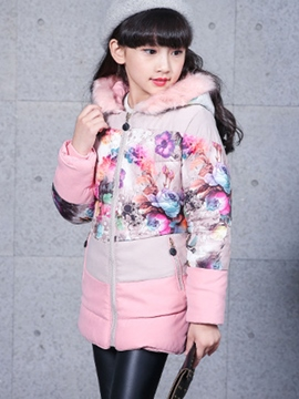 Ericdress Floral Print Hooded Patchwork Girls Down Coat