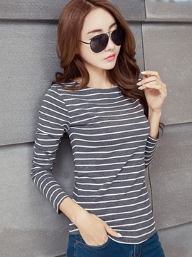 Ericdress Stripe Long Sleeve Casual T-Shirt