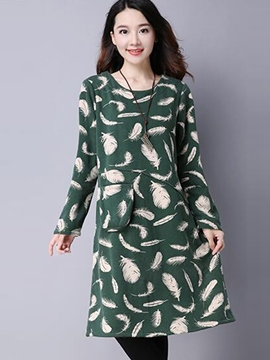 Ericdress Feather Print Patchwork Casual Dress