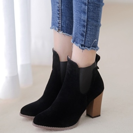 Ericdress Suede Point Toe Chunky Heel Ankle Boots