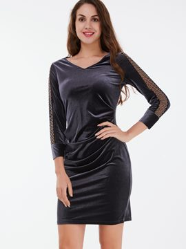 Ericdress V-Neck See-Through Pleated Bodycon Dress