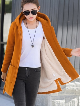 Ericdress Loose Solid Color Fleece Hoodie