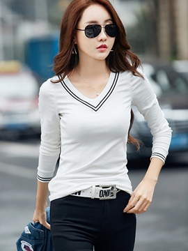 Ericdress White V-Neck Slim Long Sleeve T-Shirt