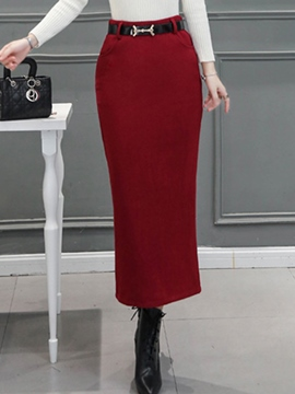 Ericdress Simple Solid Color Split Column Skirt