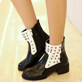 Ericdress Chic Patchwork Rivets Decorated Ankle Boots