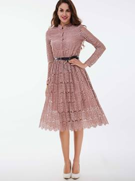 Ericdress Sweet Hollow Button Stand Collar Lace Dress