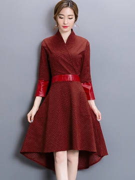Ericdress Cross V-Neck Patchwork Pleated Casual Dress