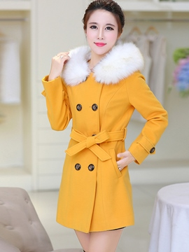 Ericdress Color Block Faux Fur Collar Patchwork Coat