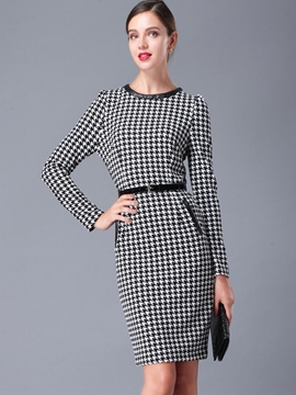 Ericdress Zipper Hemming Houndstooth Belt Sheath Dress