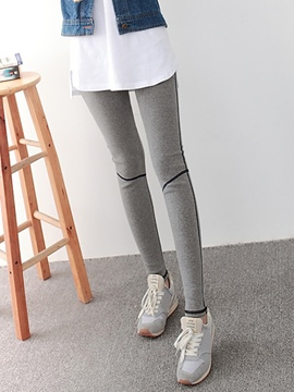 Ericdress Cotton Stripe High-Waist Leggings Pants