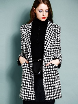 Ericdress Straight Houndstooth European Coat