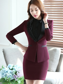 Ericdress OL Frill Patchwork Blazer Formal Suit