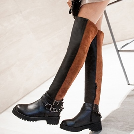 Ericdress Patchwork Round Toe Thigh High Boots