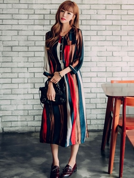 Ericdress Strip Pront Button Neckless Maxi Dress