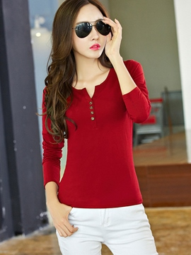 Ericdress Button Detail Long Sleeve T-Shirt