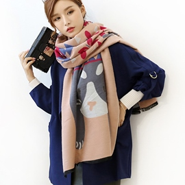 Ericdress Cartoon Printed Thicken Warm Scarf