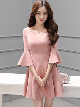 Ericdress Flare Sleeve Pleated Patchwork Back Elastic Casual Dress