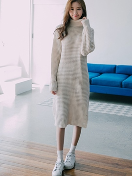 Ericdress Turtleneck Hole Knee-Length Sweater Dress