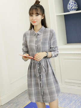 Ericdress Paid Lapel Pocket Belt Casual Dress