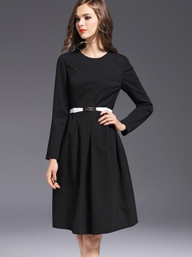 Ericdress Elegant Pleated Belt Casual Dress