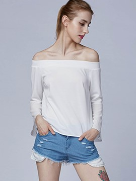 Ericdress White Slash Neck Tie Back T-Shirt