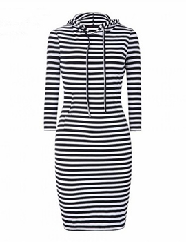 Ericdress Strip Hooded Lace-Up Sheath Dress