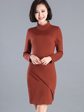 Ericdress Ruffled Collar Patchwork Pleated Sheath Dress