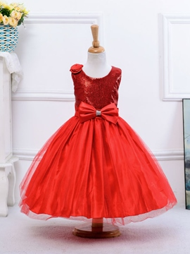 Ericdress Sequins Bow Ball Gown Girls Dress