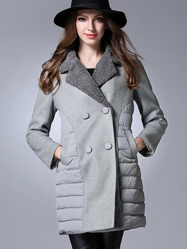 Ericdress Color Block Patchwork Straight Coat