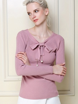 Ericdress Tie Bow Front Pink Knitwear
