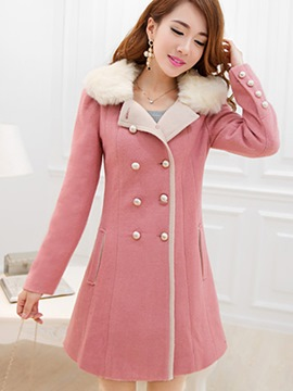 Ericdress Double-Breasted Fleece Coat