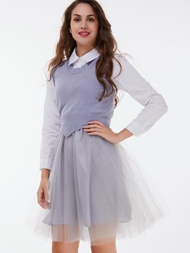 Ericdress Preppy Gauze Skirt Leisure Suit
