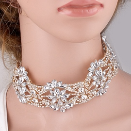 Ericdress Sparkling Flowers Diamante Choker Necklace