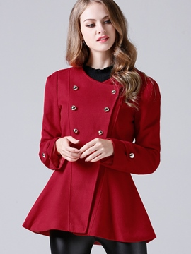 Ericdress Solid Color Double-Breasted Wave Cut Coat