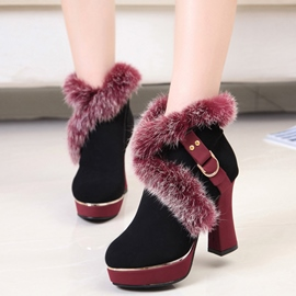 Ericdress Delicate Furry Chunky Heel Boots