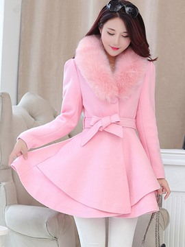 Ericdress Solid Color Belt Wave Cut Coat