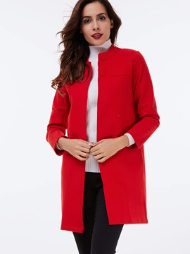 Ericdress Straight Round Neck Solid Color Coat