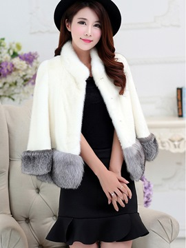 Ericdress Color Block Faux Fur Elegant Coat