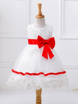 Ericdress Sequins Lace Bow Sleeveless Girls Dress