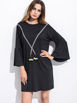Ericdress Ruffle Sleeve Patchwork Cross Appliques Casual Dress