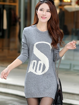 Ericdress Simple Letter Round Collar Bodycon Dress
