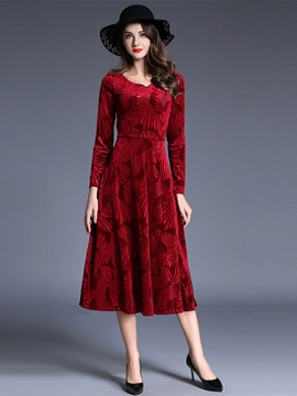 Ericdress Round Collar Floral Patchwork Pleated Maxi Dress