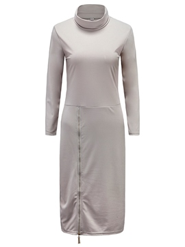 Ericdress Turtleneck Zipper Solid Collar Sheath Dress