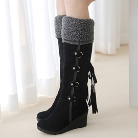 Ericdress Suede Back Tassels Wedge Heel Thigh High Boots
