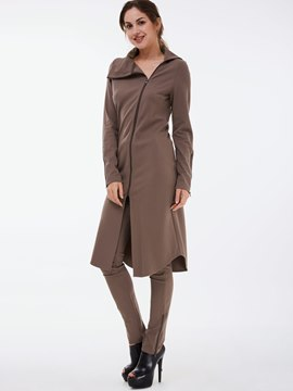 Ericdress Plain Color Asymmetric Zipper Trench Coat Pants Suit