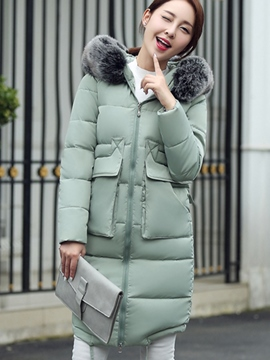 Ericdress Color Block Straight Fauc Fur Collar Coat
